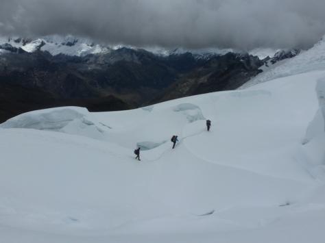 bajando por el glaciar. foto: Javier García