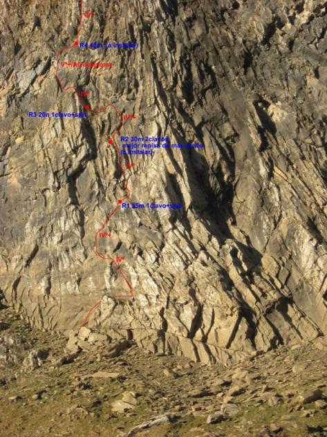 nuestra línea en la norte del Aspe, con más detalle. foto: Luis Gil