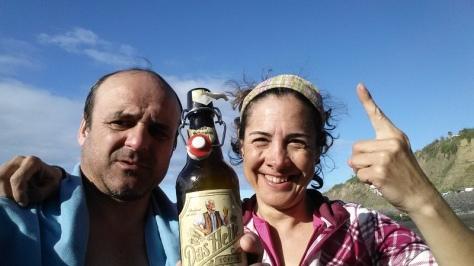 Playa del Socorro, cero metros, objetivo conseguido!!. selfie: Félix Escobar