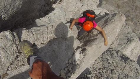 canaleta trepada al Friero. captura de vídeo: Félix Escobar